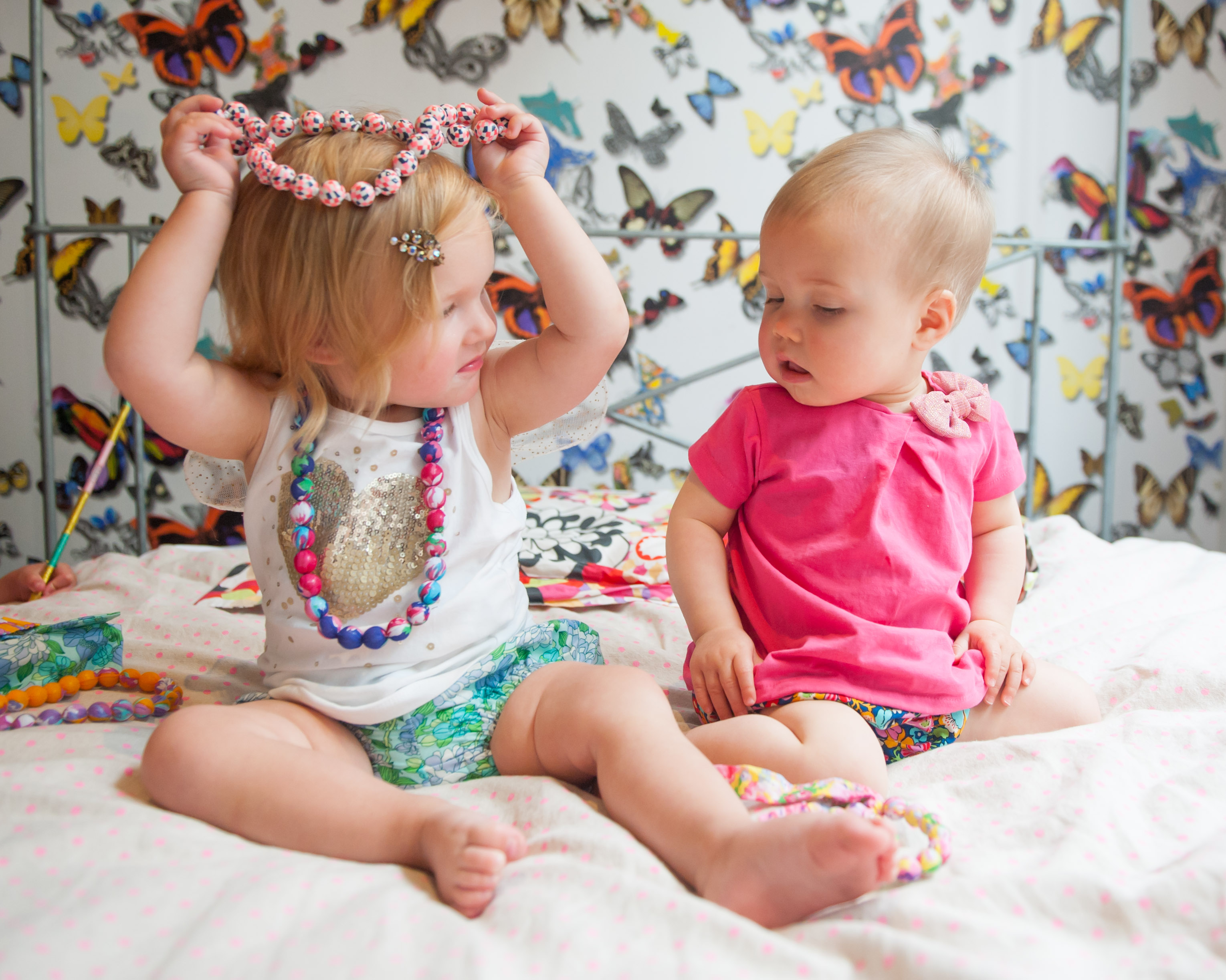 Emmy & Estelle wearing Little Maggie Moo Bloomers, Coco and Ginger Beads. Emmy wearing Cotton On Kids T-Shirt and Estelle wearing Zara Kids T-Shirt